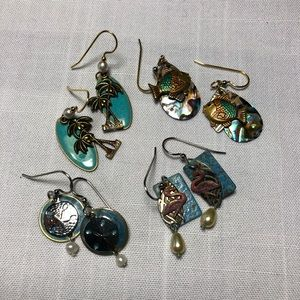 Four Pair of Silver Forest Earrings